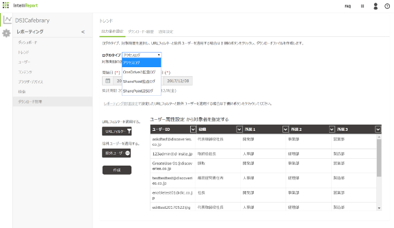 ユーザー指定ログ検索
